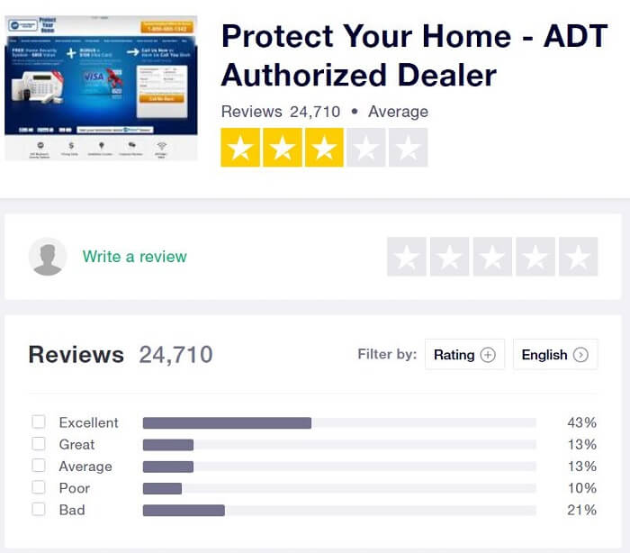 ADT Review on TrustPilot